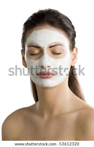 portrait of young woman with beauty mask on her face with closed eyes