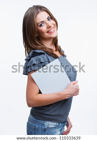 Portrait of young woman with blank white board on white background isolated - stock photo