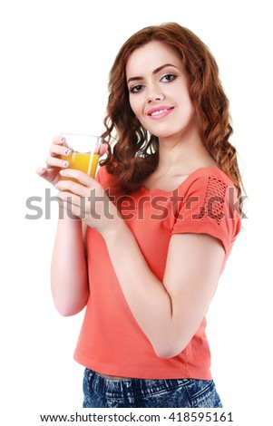 Portrait of young woman with glass of orange juice, isolate on white