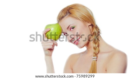 portrait of young woman with green apple isolated on white - stock photo