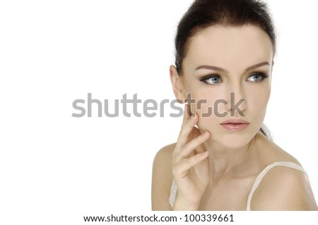 Portrait of young woman with health skin of face