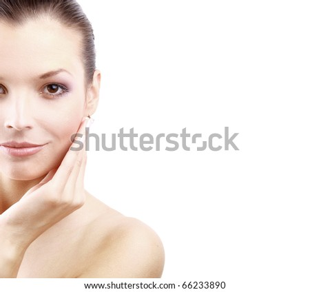 Portrait of young woman with health skin of face - stock photo