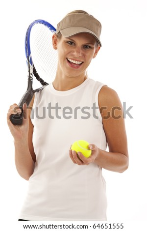 Portrait of young woman with tennis racket