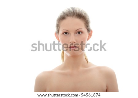 Portrait of young woman without a make-up, isolated on white background