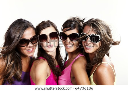 portrait of young women at party - stock photo