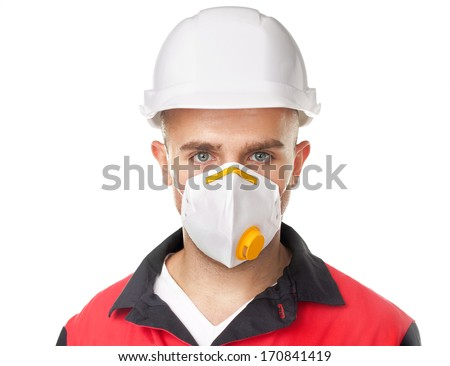 Portrait of young worker wearing safety protective gear isolated on white background - stock photo