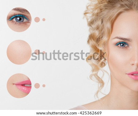 Portrait of youth women. Trendy summer make-up with blue eyelines. Concept problem skin - stock photo