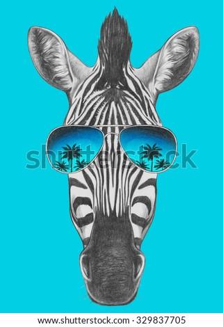 Portrait of Zebra with mirror sunglasses. Hand drawn illustration. - stock photo