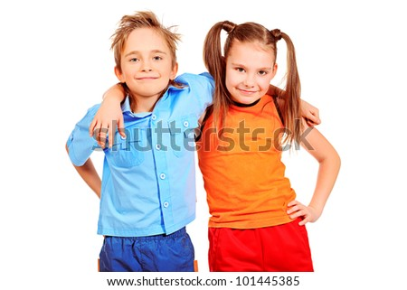 Portrait og two cheerful children. Isolated over white. - stock photo