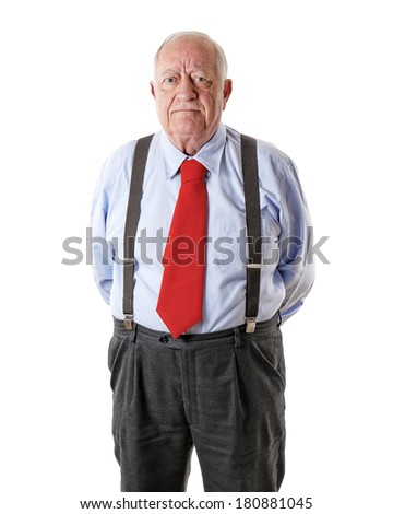 portrait old man isolated on white background - stock photo
