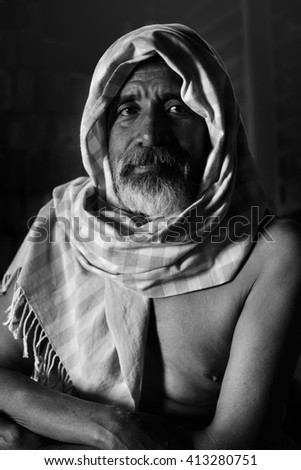 portrait  old man with Black and White - stock photo