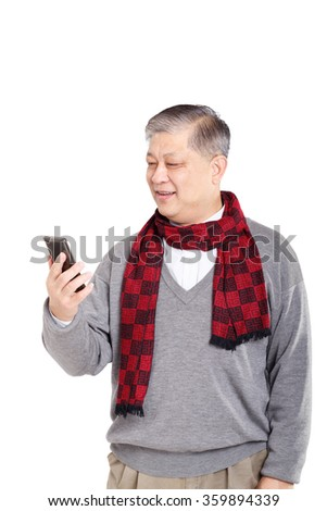 portrait old smiling Asian man in grey jumper and red scarf - stock photo