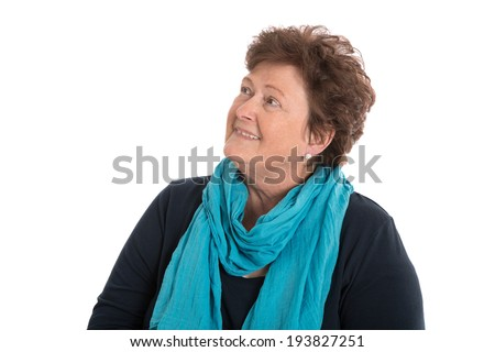 Portrait: older woman isolated over white smiling sideways. - stock photo