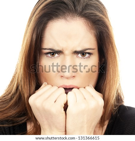 portrait on isolated white background of a Beautiful Woman fear afraid anxious - stock photo