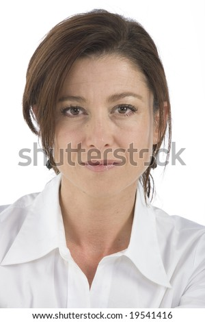 portrait on white background of a forty years old woman in studio