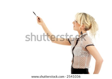 portrait or energetic businesswoman with pen over white - stock photo