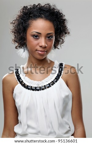 Portrait pf beautiful young african woman - stock photo