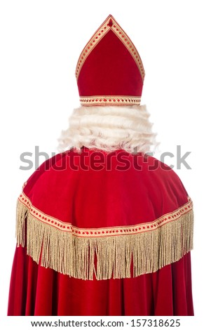 Portrait photo of Sinterklaas from the back, on a white background