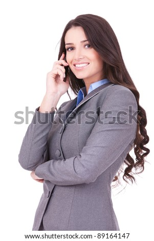 portrait picture of a business woman talking on the phone on white background - stock photo