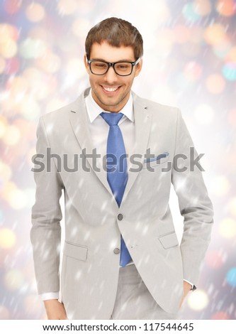 portrait picture of happy businessman in spectacles. - stock photo