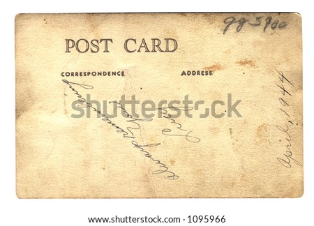 Portrait post card vintage - Path included - stock photo