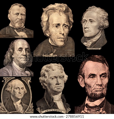 Portrait Presidents Of The United States - stock photo