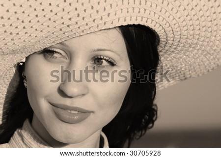 portrait pretty woman in panama - stock photo