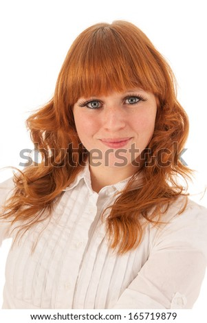 Portrait red haired woman with a smile isolated over white background