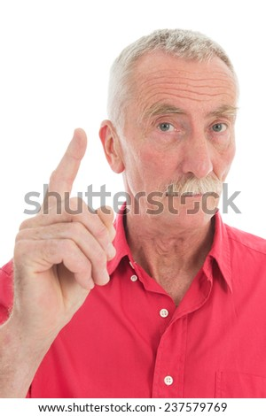 Portrait retired man with mustache and red shirt warning with finger isolated over white background