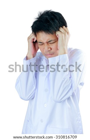 Portrait sad health care professional with headache, stressed, holding head with hands. Nurse, doctor with migraine overworked, overstressed isolated white background. Negative human emotions - stock photo
