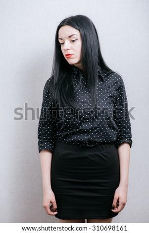 portrait sad woman - stock photo