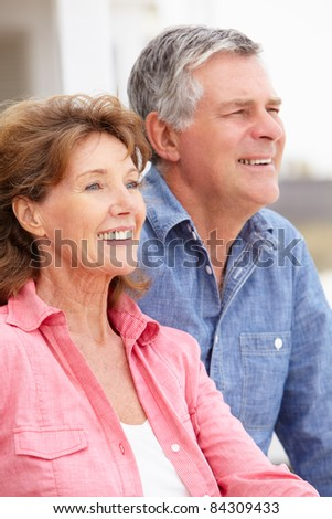 Portrait senior couple outdoors - stock photo
