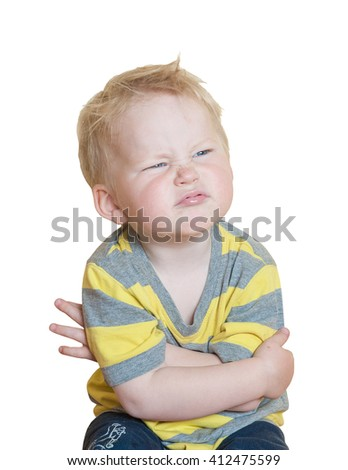 portrait serious stern child Angry little boy isolated on white. sign and gesture concept - stock photo