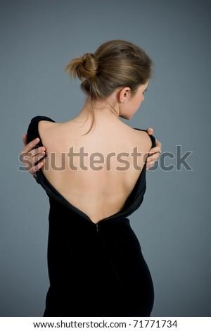 Portrait shot of a beautiful blonde caucasian girl. - stock photo