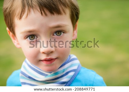 Portrait shot of a cute 3 year old child - stock photo