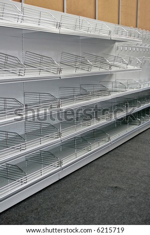 Portrait shot of empty super market rack - stock photo
