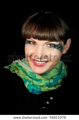 Portrait smile beautiful girl model with fashion makeup - stock photo