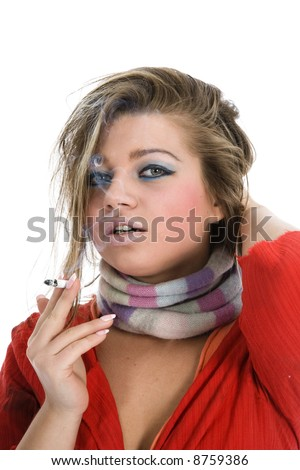 Portrait smoking girl on white background