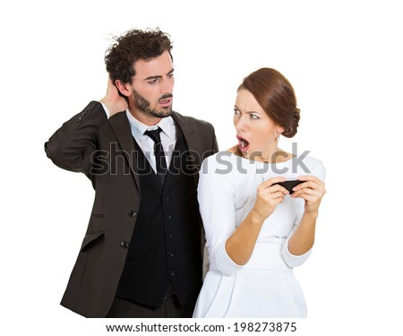 Portrait sneaky upset jealous possessive boyfriend angry watching girlfriend texting someone else, mad when confronted isolated white background. Negative emotion facial expression feeling conflict - stock photo