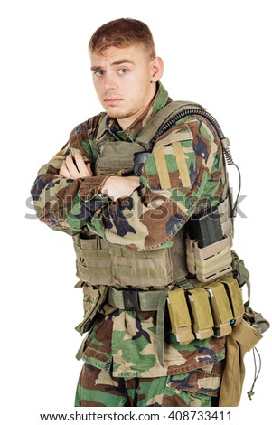 Portrait soldier or private military contractor with crossed arms. war, army, weapon, technology and people concept. Image on a black background. - stock photo