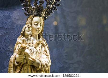 Portrait statue of Virgin Maria,Spain. - stock photo