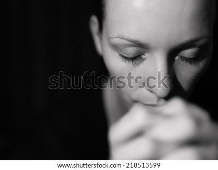 Portrait stressed young woman - stock photo
