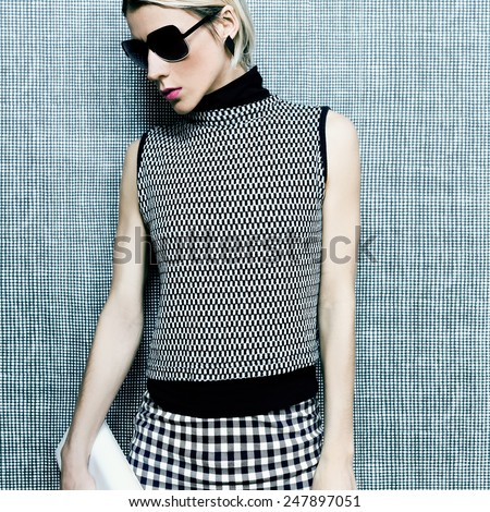 Portrait stylish Lady in fashionable clothes. Ornament trend - stock photo