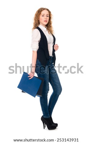 Portrait successful young business woman. Secretary in full growth with folders. Isolated on white background. - stock photo