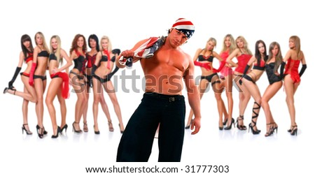 Portrait suntanned athletic combined young man with the naked torso and the american flag in hands, on a background twelve beautiful young slim women, isolated on a white background