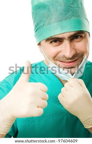 Portrait surgeon man on a white background. - stock photo