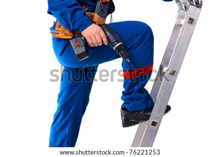 """Portrait technician man in work-wear with instrument and """"step ladder"""" - stock photo"""