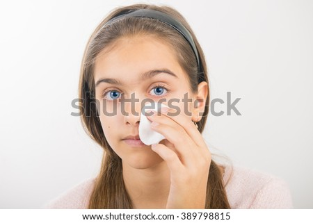 Portrait teen girl cleansing. Beautiful Face. Pure Natural Beauty. Perfect Skin. - stock photo