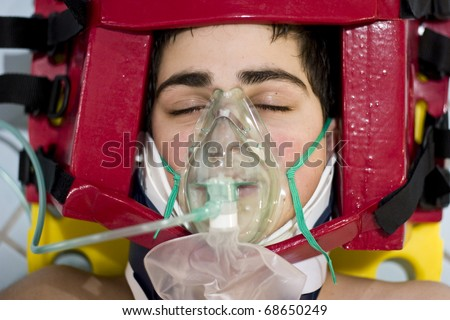 portrait teen Oxygen first aid - stock photo