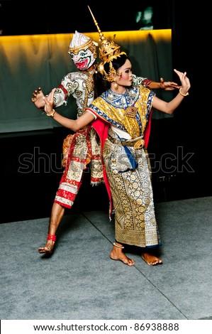 Portrait Thai Dancing Art ,Khon Thai Classical masked ballet in black background - stock photo